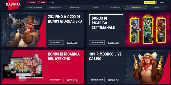 Casinò Rabona scommesse, tornei slot machine online