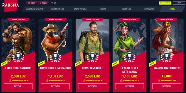 Rabona scommesse, bonus slot machine online